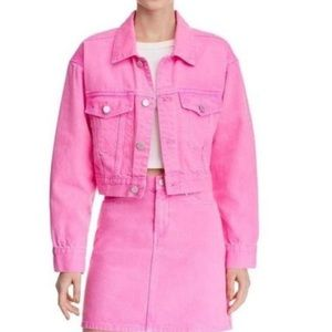 NWT. Blank NYC pink cropped cotton pop jacket